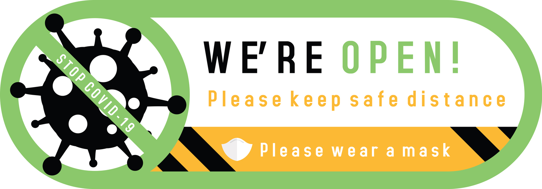 We are open sign plate on facade door of shop, store, cafe or restaurant. Signs on the door of   store cafe. Wear a mask and keep safe distance. Reopening after quarantine of coronavirus COVID-19. Vector illustration.