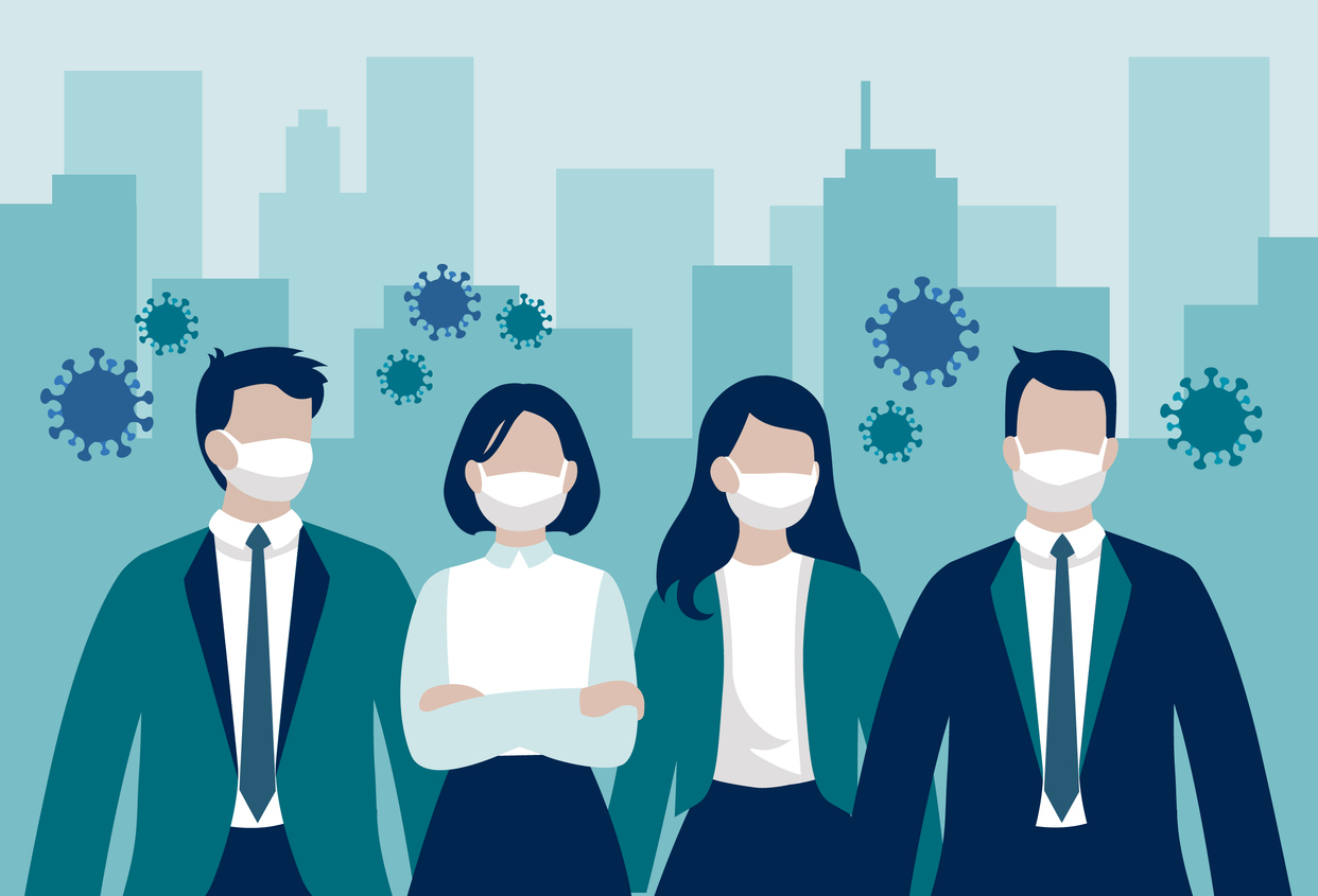 Vector group of business workers or enterpreneurs wearing protective face masks standing in front of office buildings surrounded by virus cells - coronavirus pandemic influencing business